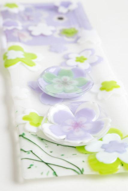 フュージングで、長皿と桜の豆皿