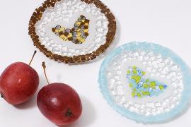 ブルズアイ・ガラスのペア丸皿