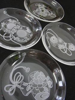 サンドブラスト*今月の作品集(クリアガラス) -東京新宿の陶芸教室 プロップスアートスクールで陶芸体験-の画像