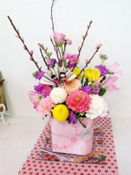 フラワーコース:2月雛祭りアレンジ -東京新宿の陶芸教室 プロップスアートスクールで陶芸体験-の画像
